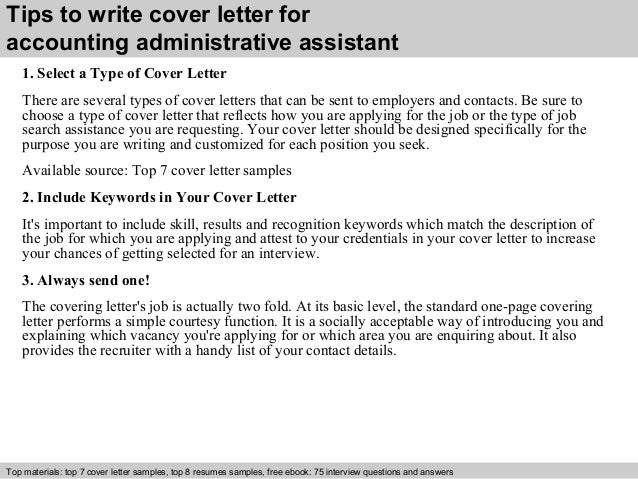 3 tips to write cover letter for accounting administrative assistant - Adminstrative Assistant Cover Letter
