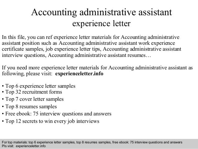 administrative assistant accounting description accounting administrative assistant experience letter