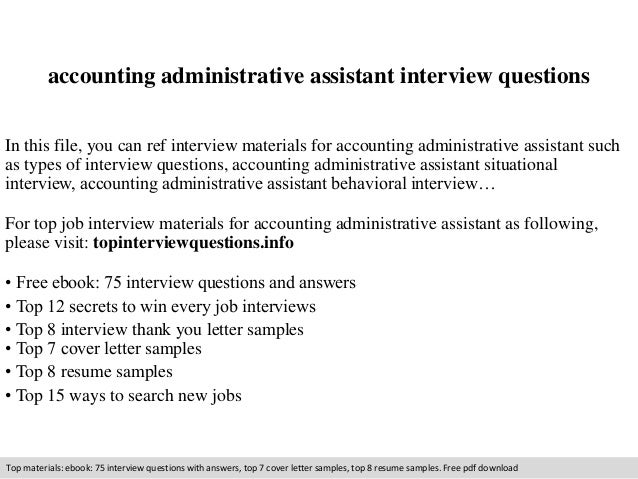 Accounting administrative assistant interview questions