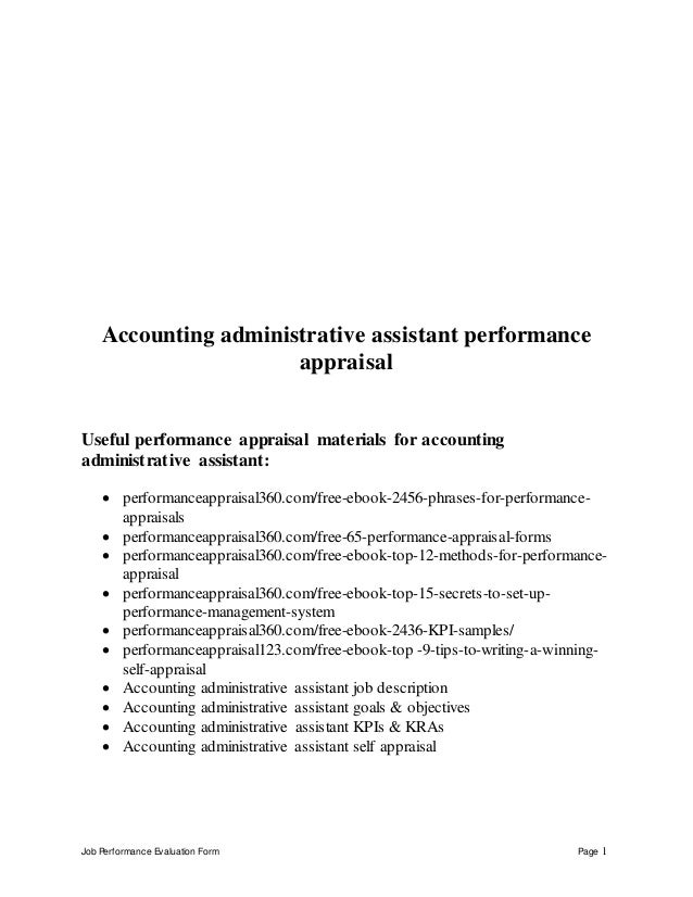 Accounting Administrative Assistant Performance Appraisal