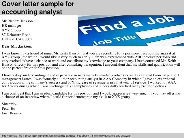 cover letter sample for accounting analyst