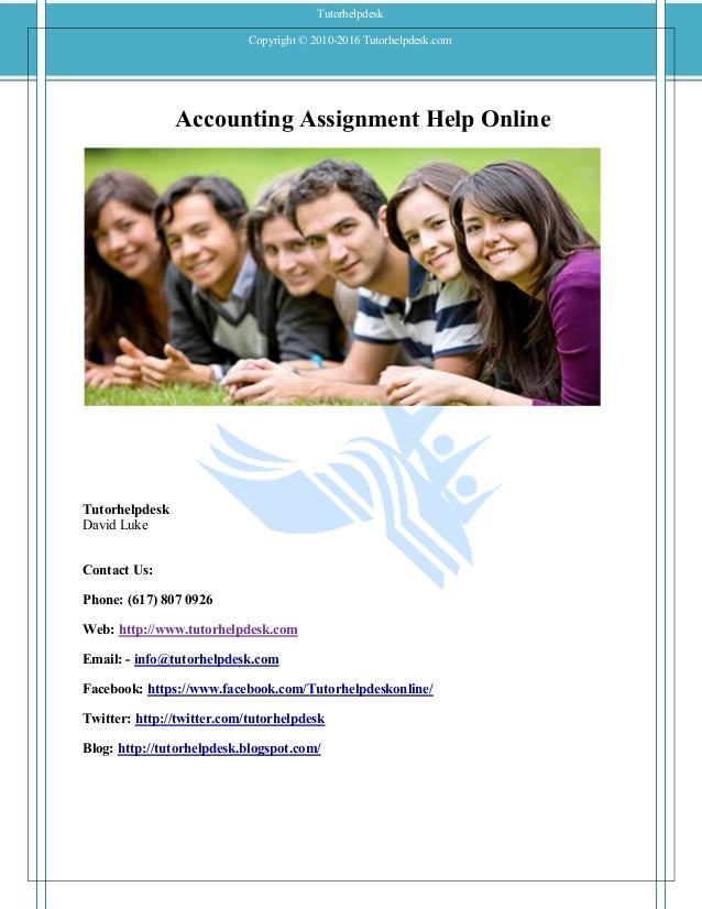 Accounting homework , Accounting Assignment Help, free tutor ...