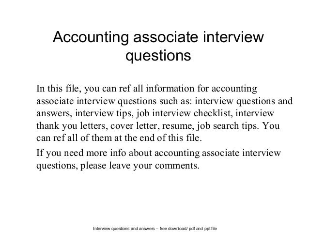 Great Interview Questions And Answers U2013 Free Download/ Pdf And Ppt File Accounting  Associate Interview Questions ... And Accounting Interview Questions