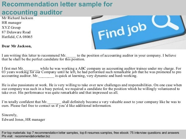 Accounting Auditor Recommendation Letter