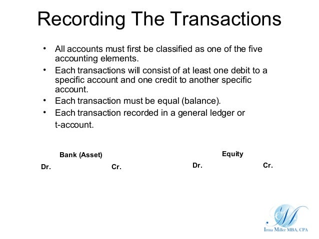 Recording The Transactions• All accounts must first be classified as one of the five  accounting elements.• Each transacti...