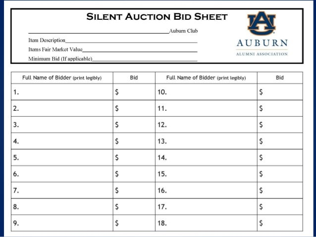 Auction bid sheet template free for Auction bid cards template
