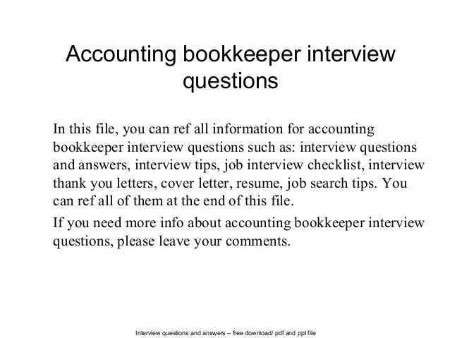 Interview Questions And Answers U2013 Free Download/ Pdf And Ppt File  Accounting Bookkeeper Interview Questions ...