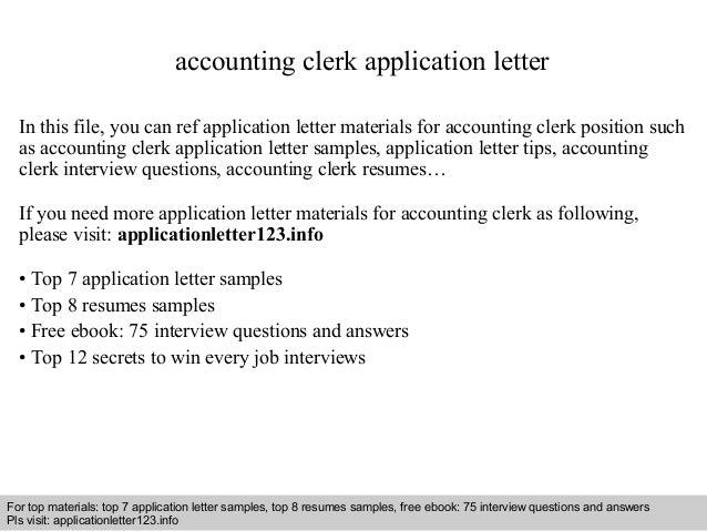 Accounting Clerk Application Letter In This File, You Can Ref Application  Letter Materials For Accounting ...  Accounting Clerk Duties