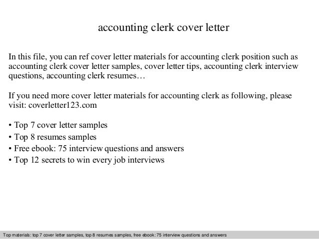 Accounting Clerk Cover Letter In This File You Can Ref Materials For Sample