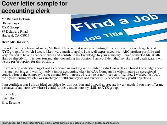 Accounting clerk cover letter cover letter sample for accounting clerk altavistaventures