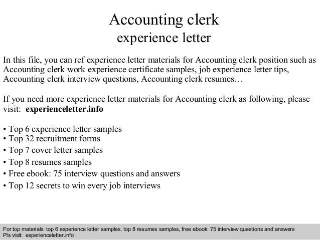 accounting clerk experience letter in this file you can ref experience letter materials for accounting. Resume Example. Resume CV Cover Letter