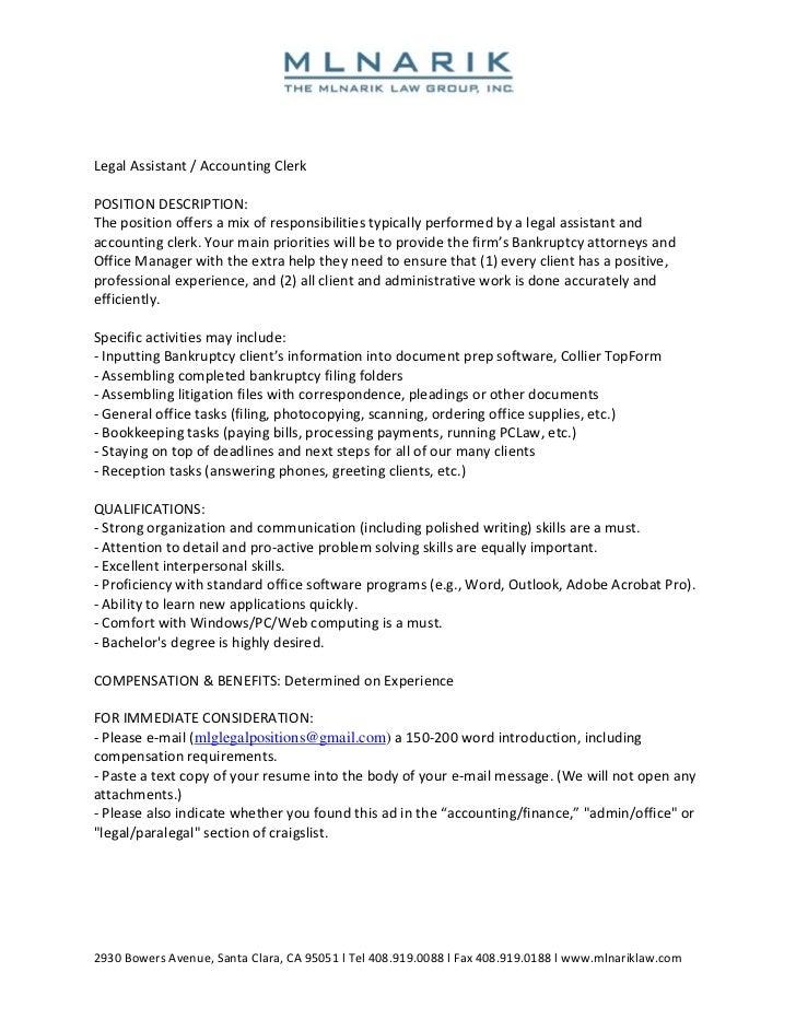job description for accounting clerk