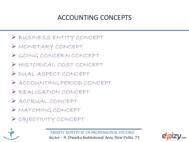 TRINITY INSTITUTE OF PROFESSIONAL STUDIES Sector – 9, Dwarka Institutional Area, New Delhi-75 ACCOUNTING CONCEPTS  BUSINE...