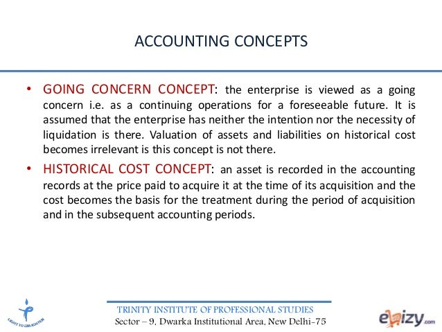 Accounting Concepts Going Concern