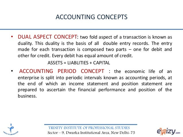 TRINITY INSTITUTE OF PROFESSIONAL STUDIES Sector – 9, Dwarka Institutional Area, New Delhi-75 ACCOUNTING CONCEPTS • DUAL A...