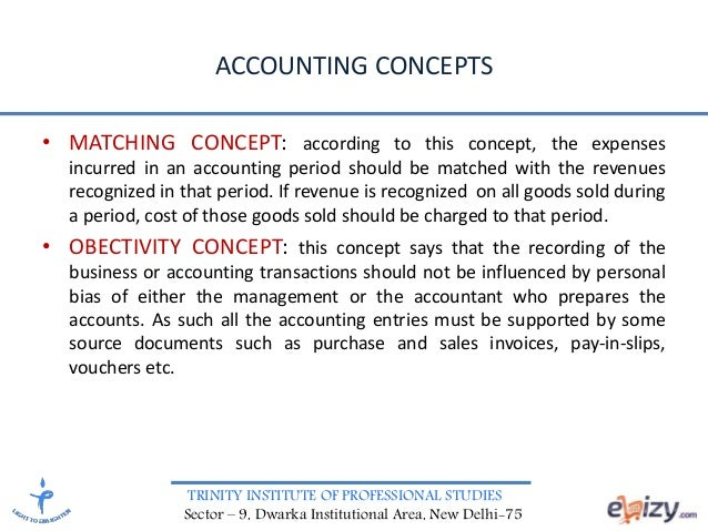 TRINITY INSTITUTE OF PROFESSIONAL STUDIES Sector – 9, Dwarka Institutional Area, New Delhi-75 ACCOUNTING CONCEPTS • MATCHI...