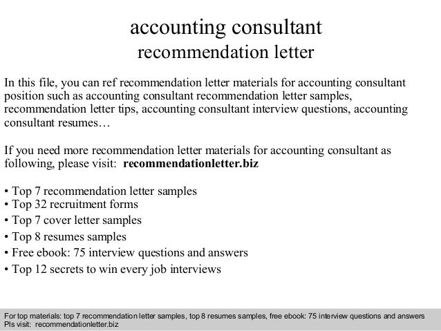 Accounting Consultant Recommendation Letter In This File, You Can Ref  Recommendation Letter Materials For Accounting ...