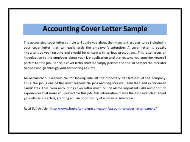 Accounting Cover Letter Sample The Accounting Cover Letter Sample Will  Guide You About The Important ...  Cover Letter Sample For Accounting