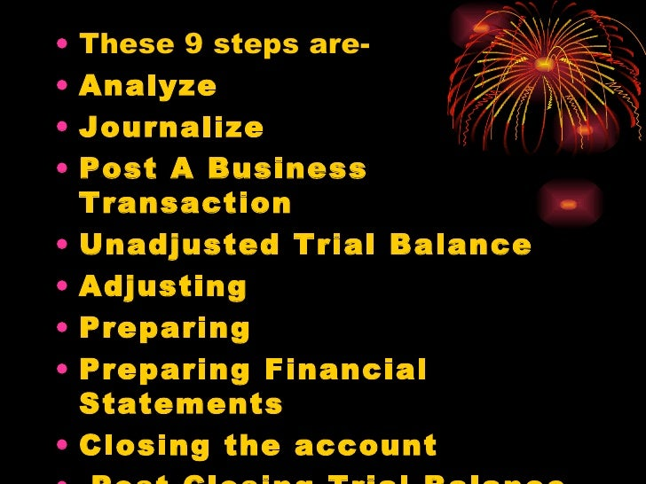 nine steps of accounting cycle essay The accounting cycle is a series of steps in processing financial information in this lesson, we will enumerate and explain the 9 steps in the accounting cycle.