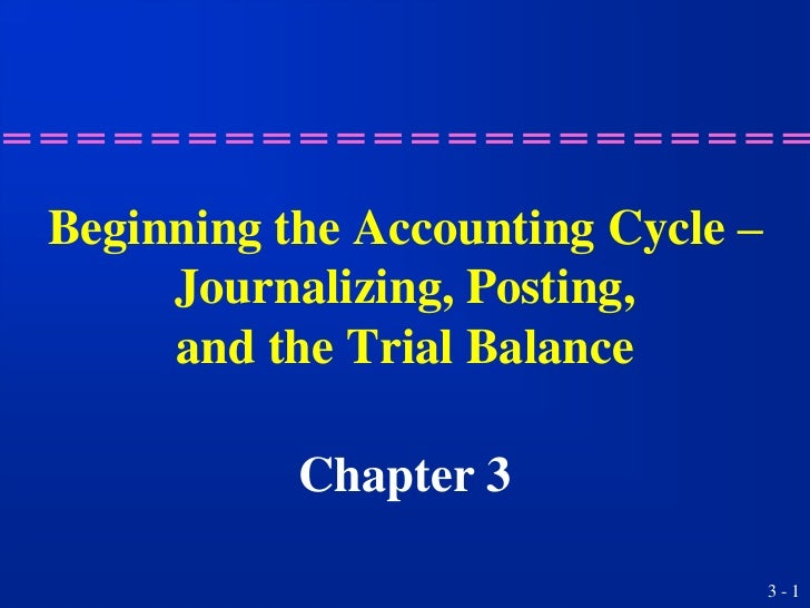 Beginning the Accounting Cycle –     Journalizing, Posting,     and the Trial Balance           Chapter 3                 ...