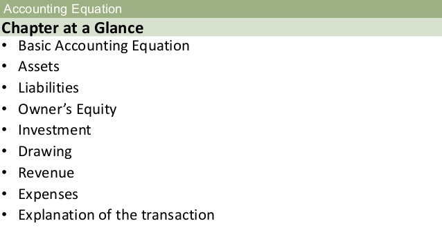 Accounting equation Slide 2
