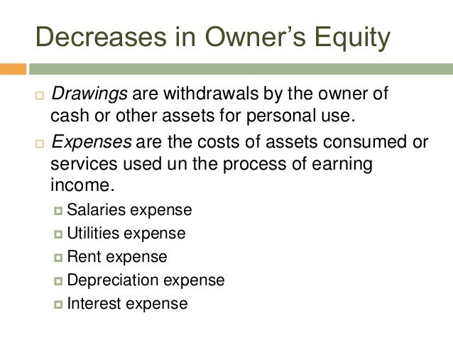 Decreases in Owner's Equity Drawings are withdrawals by the owner ofcash or other assets for personal use. Expenses are ...