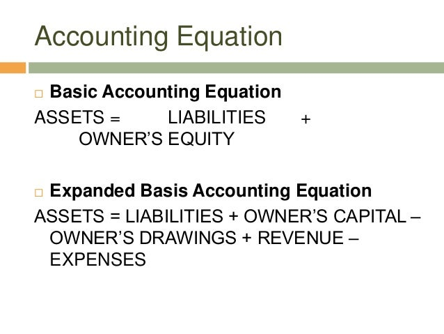 Accounting Equation Basic Accounting EquationASSETS = LIABILITIES +OWNER'S EQUITY Expanded Basis Accounting EquationASSE...