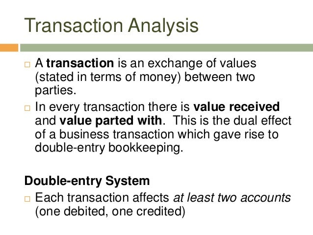  A transaction is an exchange of values(stated in terms of money) between twoparties. In every transaction there is valu...