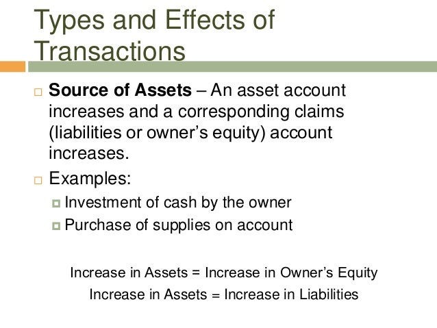  Source of Assets – An asset accountincreases and a corresponding claims(liabilities or owner's equity) accountincreases....