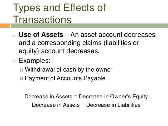  Use of Assets – An asset account decreasesand a corresponding claims (liabilities orequity) account decreases. Examples...