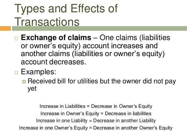  Exchange of claims – One claims (liabilitiesor owner's equity) account increases andanother claims (liabilities or owner...