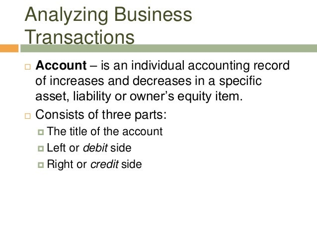 Analyzing BusinessTransactions Account – is an individual accounting recordof increases and decreases in a specificasset,...