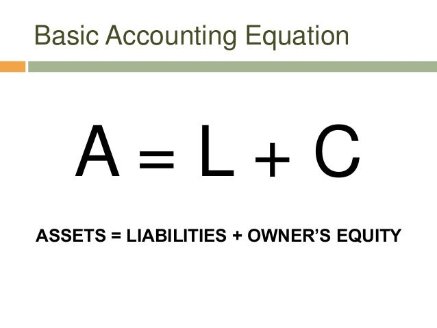 Basic Accounting EquationA = L + CASSETS = LIABILITIES + OWNER'S EQUITY