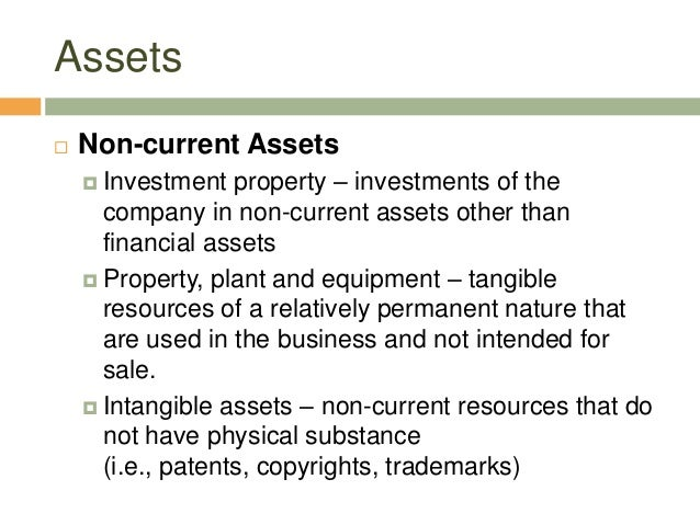 Assets Non-current Assets Investment property – investments of thecompany in non-current assets other thanfinancial asse...