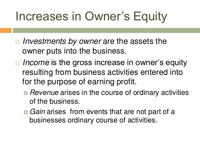 Increases in Owner's Equity Investments by owner are the assets theowner puts into the business. Income is the gross inc...