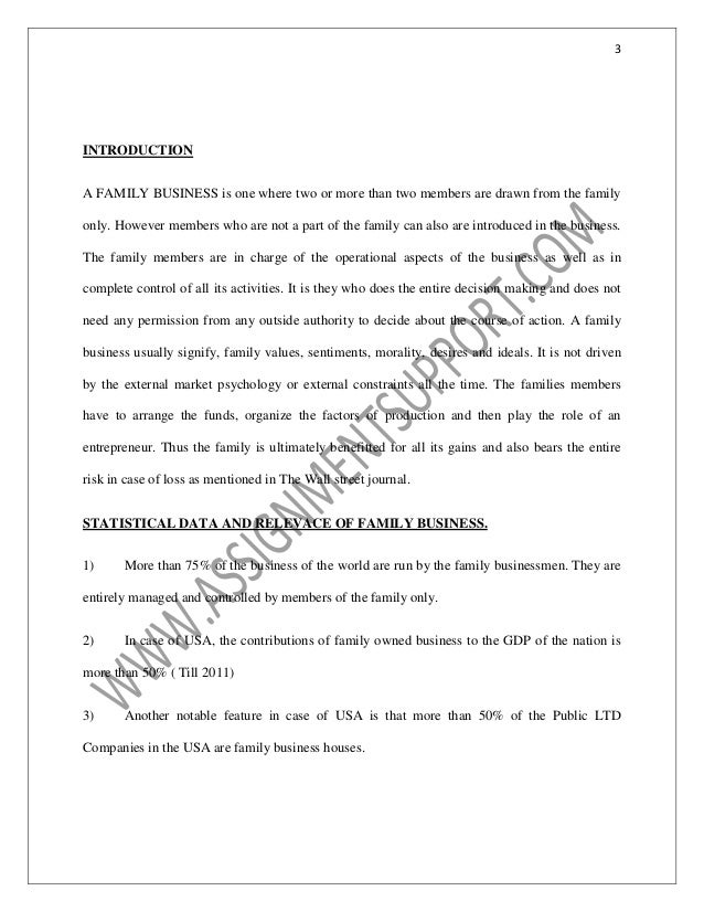 Accounting Family Business Essay Sample From Assignmentsupportcom Es   Introduction A Family Business