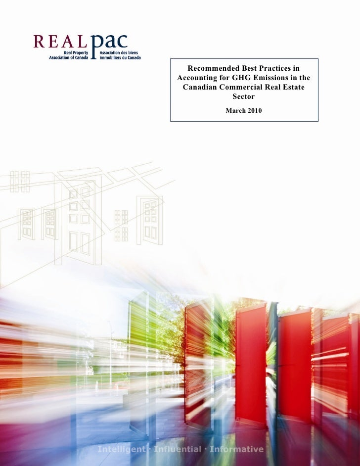 Recommended Best Practices in     Accounting for GHG Emissions in the      Canadian Commercial Real Estate    ...