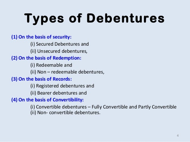 types of debentures Types of debentures meaning: - when a company wants to borrow long term finance then issuing debentures is the most convenient method because.