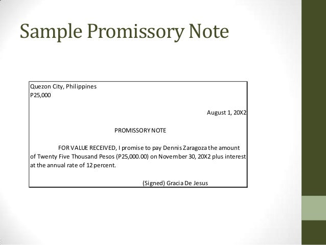 Sample Promissory Note ...  Promisory Note Example