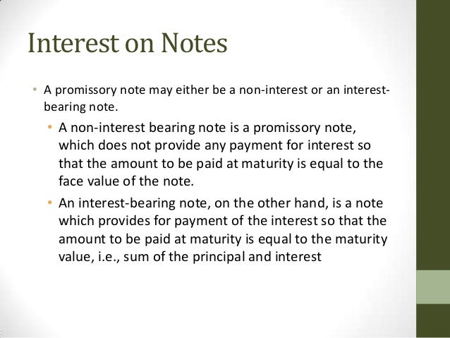 Accounting For Promissory Notes