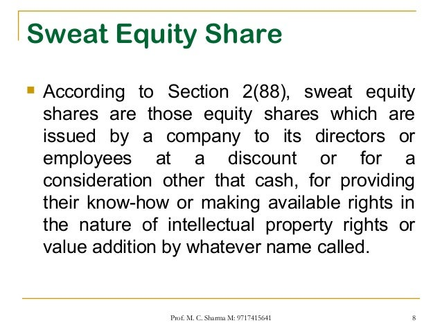 Accounting For Sweat Equity