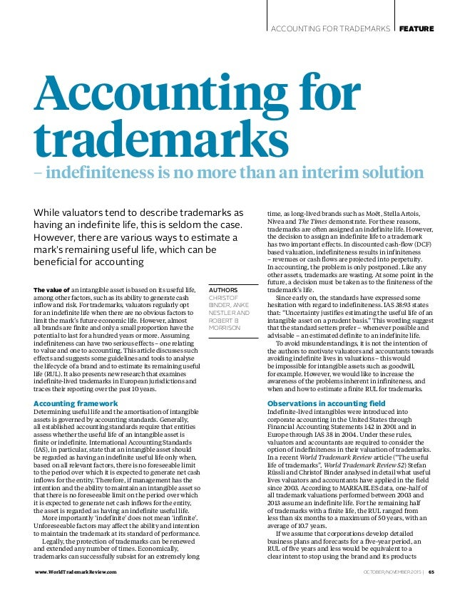 www.WorldTrademarkReview.com  OCTOBER/NOVEMBER 2015 | 65 ACCOUNTING FOR TRADEMARKS FEATURE AUTHORS CHRISTOF BINDER, ANKE N...