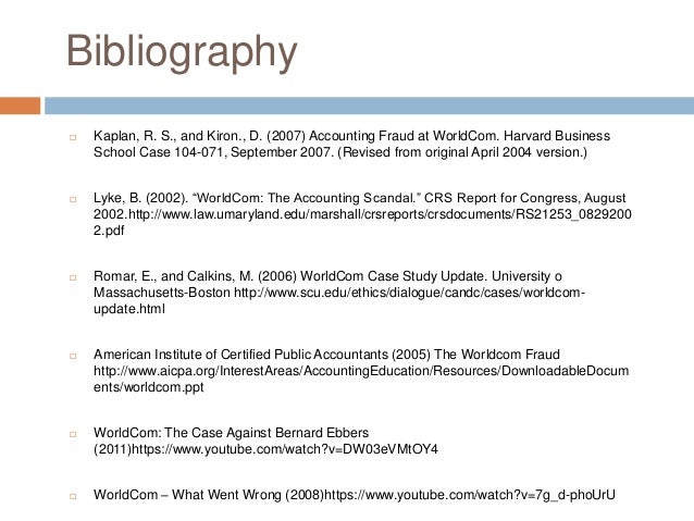individual case study worldcom Case studies audit data analytics accounting a close look at what went wrong at worldcom gives cfes a good but there were individual.