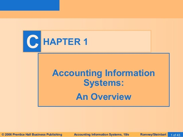 C HAPTER 1  Accounting Information  Systems:  An Overview  © 2006 Prentice Hall Business Publishing Accounting Information...