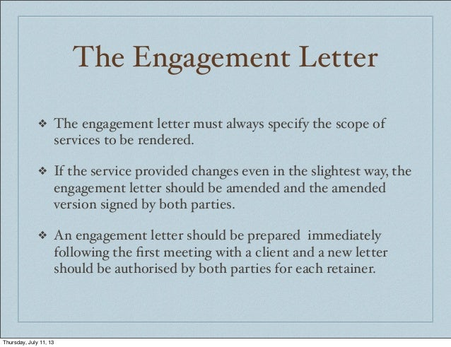 thursday july 11 13 4 the engagement letter