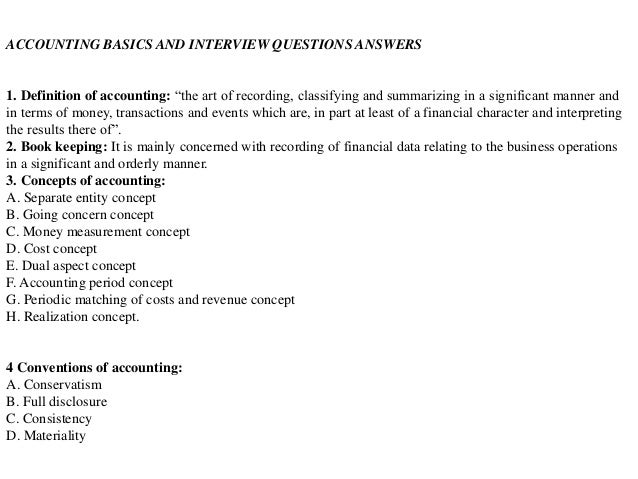 Accounting interview questions answers