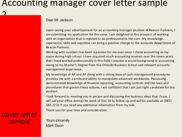 cover letter for applying accounting job - accounting manager cover letter
