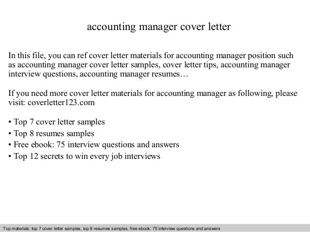 Accounting Manager Cover Letter In This File, You Can Ref Cover Letter  Materials For Accounting ...