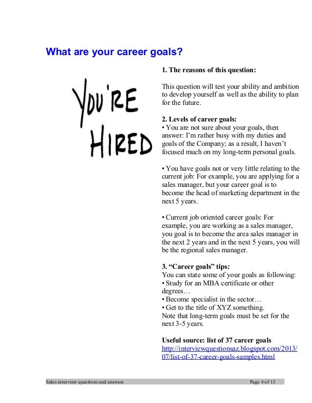 Career Goals Sample Answers  What Are Your Career Goals