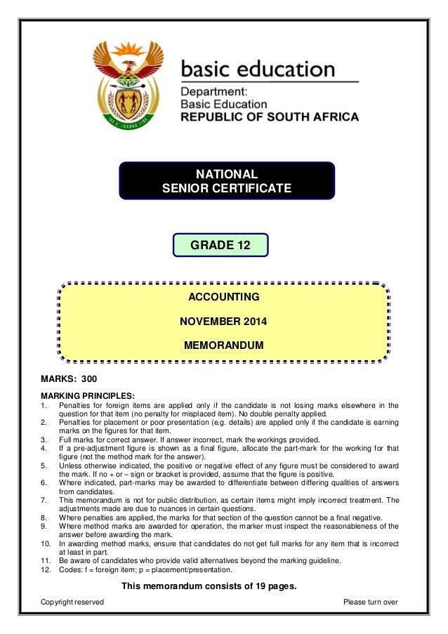 accounting grade 12 past paper 2014 memorandum rh slideshare net Eighth Grade First Grade